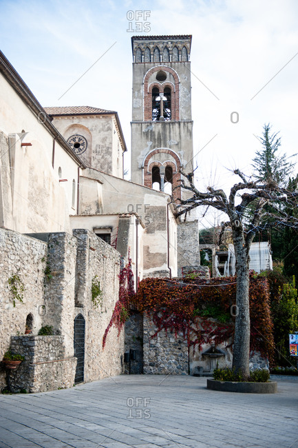 Bell tower of Villa Rufolo in Ravello, Italy along the Amalfi Coast