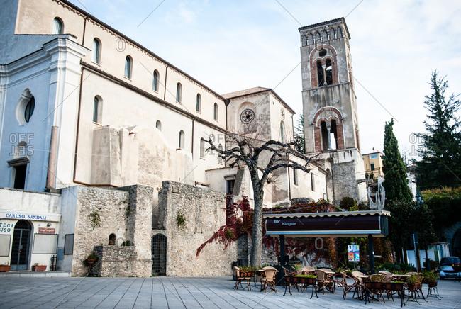 Ravello, Italy - December 16, 2015: Bell tower of Villa Rufolo in Ravello, Italy along the Amalfi Coast
