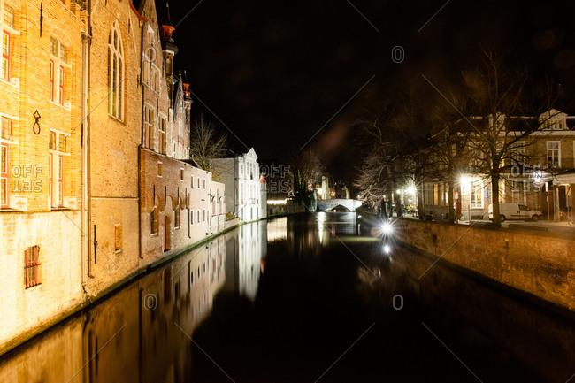 Canal at night in Bruges, Belgium