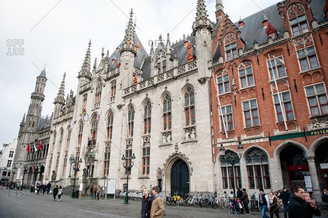 Bruges, Belgium - December 21, 2015: Bruges City Hall building in Bruges, Belgium