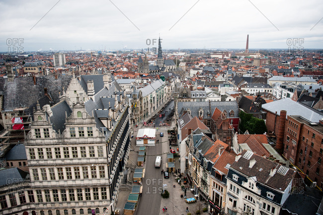 View of the Ghent skyline from the Belfry of Ghent in Belgium