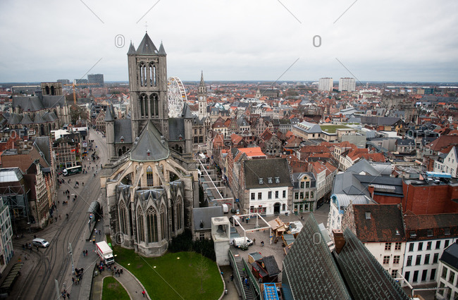 View of Saint Nicholas' Church from the Belfry of Ghent in Belgium