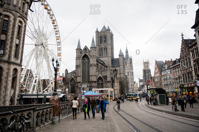 Ghent, Belgium - December 22, 2015: The Saint Bavo Cathedral in Ghent, Belgium