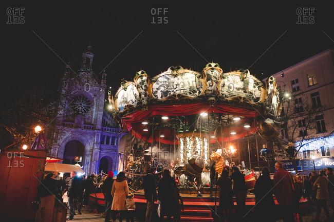 Brussels, Belgium - December 22, 2015: Carousel in Brussels, Belgium