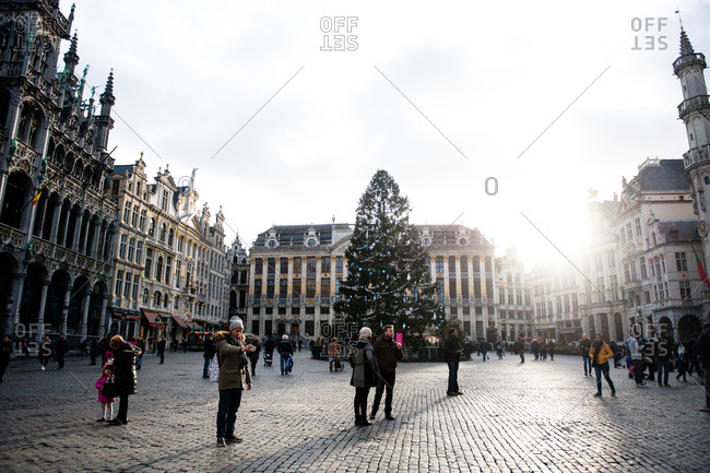 Brussels, Belgium - December 23, 2015: Christmas tree in the Grand Place in Brussels, Belgium