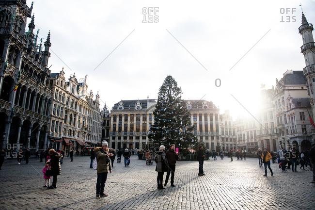Brussels, Belgium - December 23, 2015: Christmas tree in the Grand Place in Brussels, Belgium