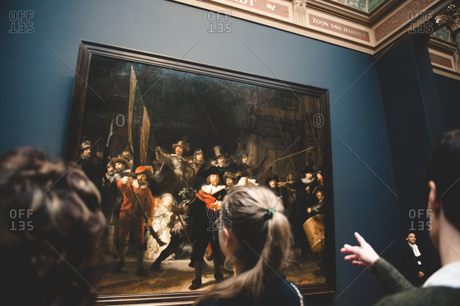 Amsterdam, Netherlands - December 25, 2015: Rembrandt's painting 'The Night Watch' at the Rijksmuseum in Amsterdam, Netherlands