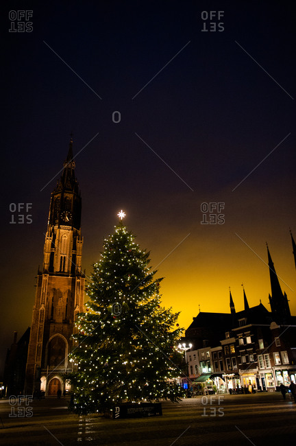 A Christmas tree in Market Square in Delft, Holland