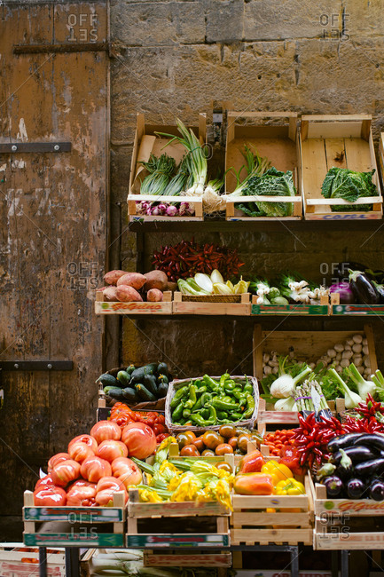 Fresh fruit and vegetable stall, Florence, Italy