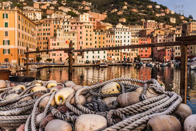 Fishing nets and harbor, Camogli, Liguria, Italy