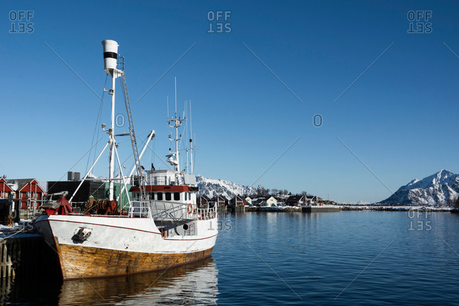 Fishing boat in harbor, Svolvaer, Lofoten Islands, Norway