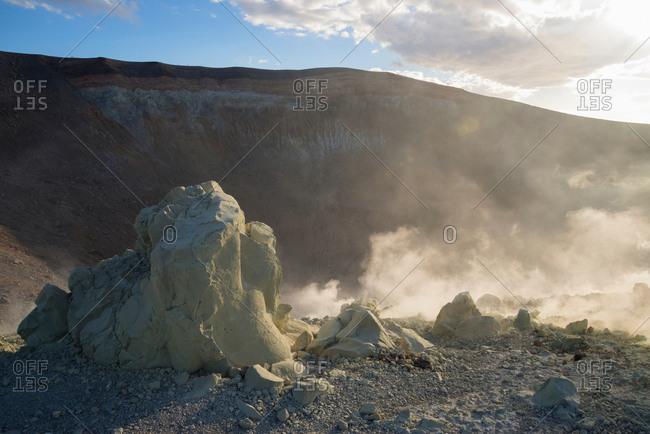 Sulfur and fumaroles smoke at Gran Cratere, Vulcano Island, Aeolian Islands, Sicily, Italy