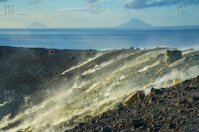 Sulfur and fumaroles smoke on Gran Cratere
