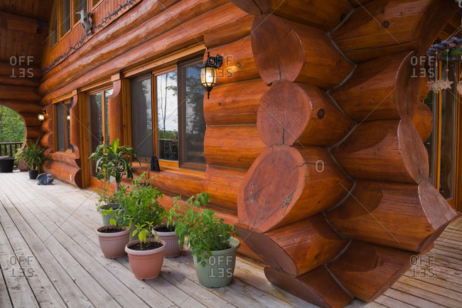 Exterior of cottage style log home with wooden plank veranda decorated with green plants in planters in summer