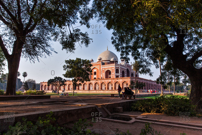 People in park at Humayun's Tomb in Delhi, India