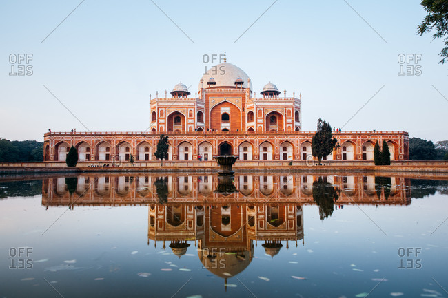 Reflecting pool at Humayan's Tomb, Delhi, India