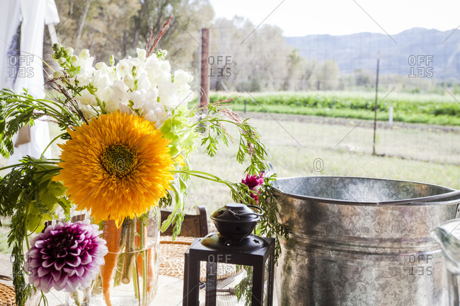 Floral arrangement with rural view