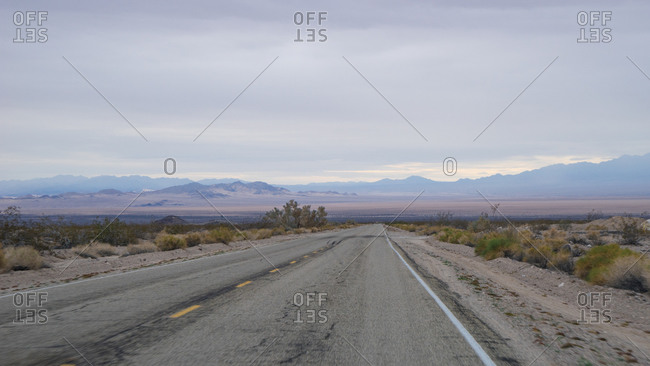 Empty desert highway in California