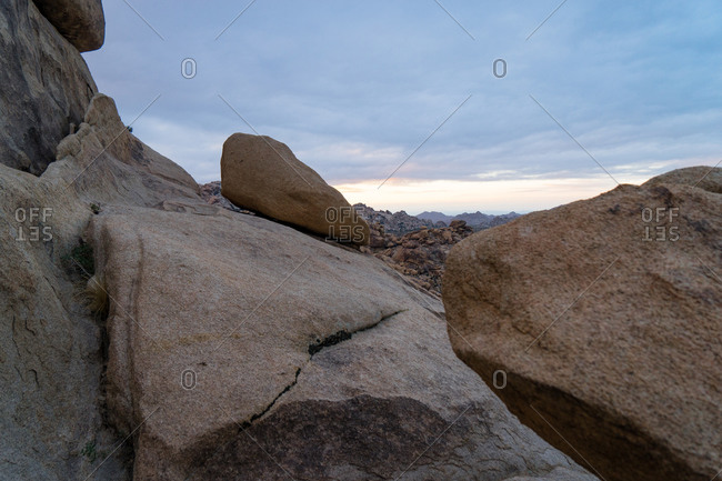 Boulders at Joshua Tree National Park at sunset