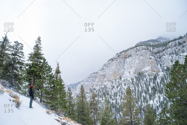 Hiker standing in snow on hillside to view landscape, Mount Charleston