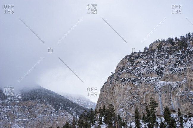 Low clouds and snow at Mount Charleston, Nevada