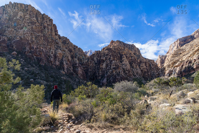 Man hiking in Red Rock Canyon National Conservation Area