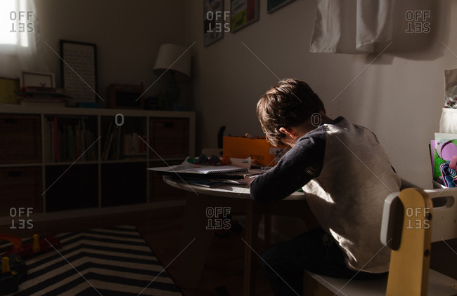Back view of a young boy doing school work at table