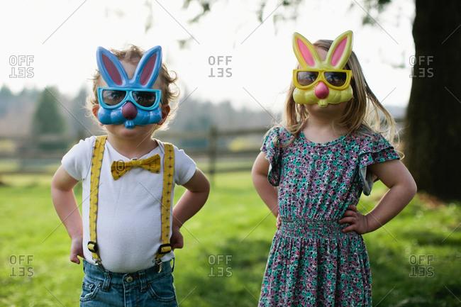 Kids wearing rabbit masks
