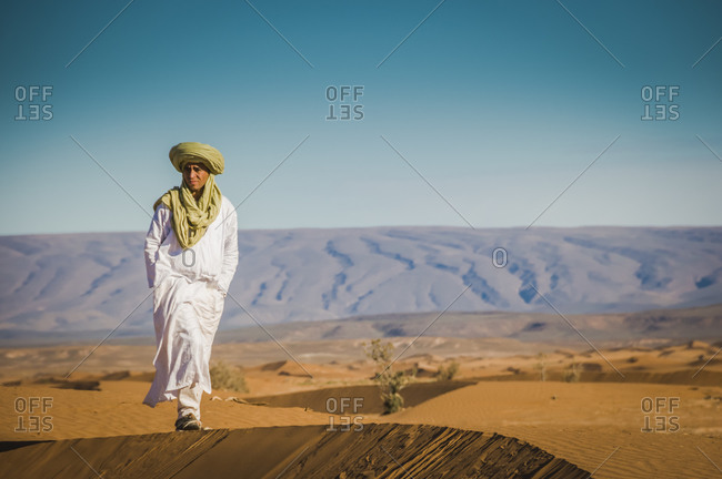 Sahara, Morocco - January 6, 2015: Berber guide in Erg Chigaga dunes