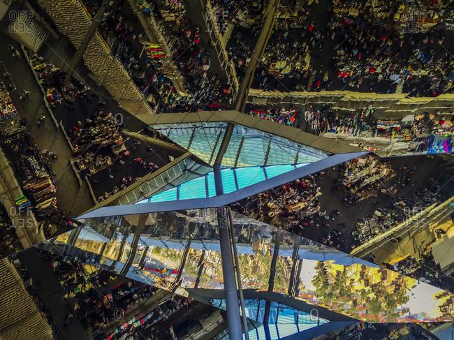 Reflection in Roof at the Els Encants Vells flea market in Barcelona, Spain