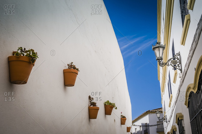 Alley and flower pots, Ronda, Spain