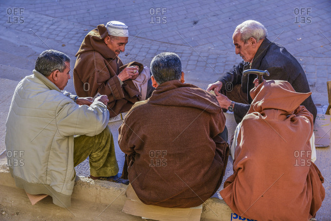 Fes, Morocco - December 5, 2015: Old men playing cards