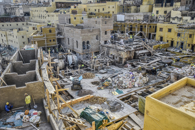 Rebuilding the leather tannery in Fes, Morocco