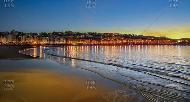 La Concha Beach at sunset in San Sebastian, Spain