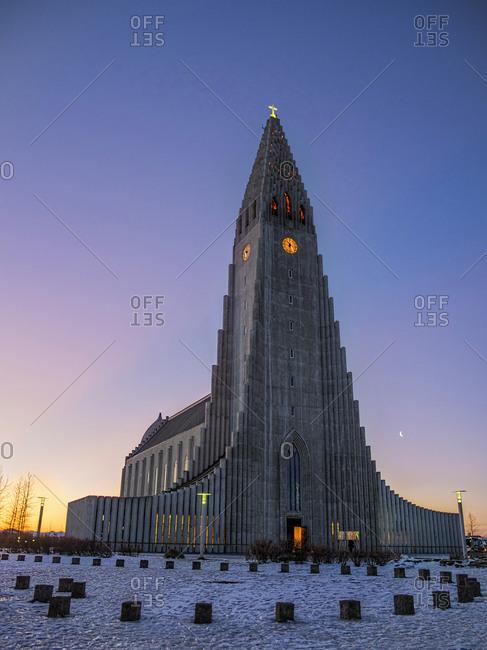 Hallgrimskirkja church at sunrise in Reykjavik, Iceland