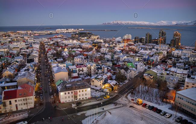 Reykjavik rooftops at sunrise