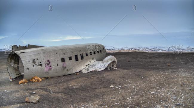 Wrecked plane on a beach in Solheimasandur, Iceland