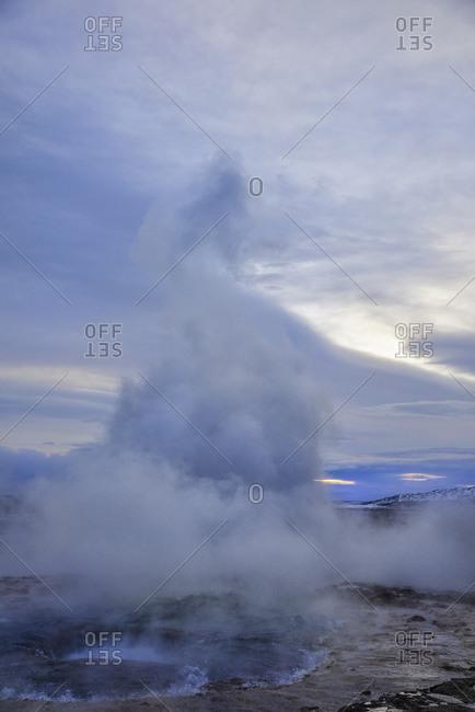 The Great Geysir erupting in Iceland