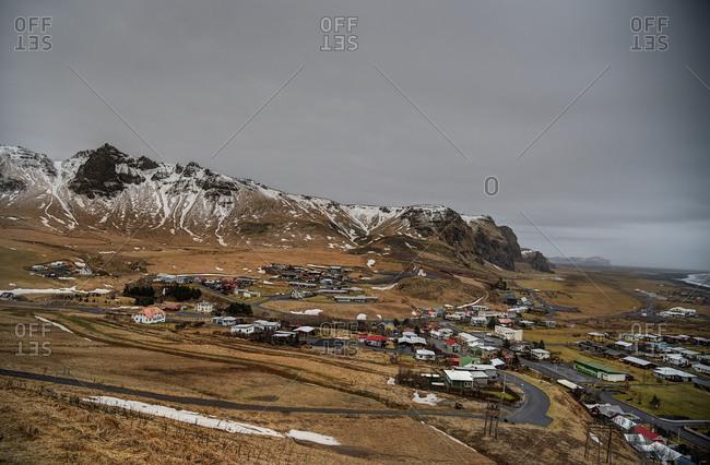 Bird's eye view of Vik, Iceland
