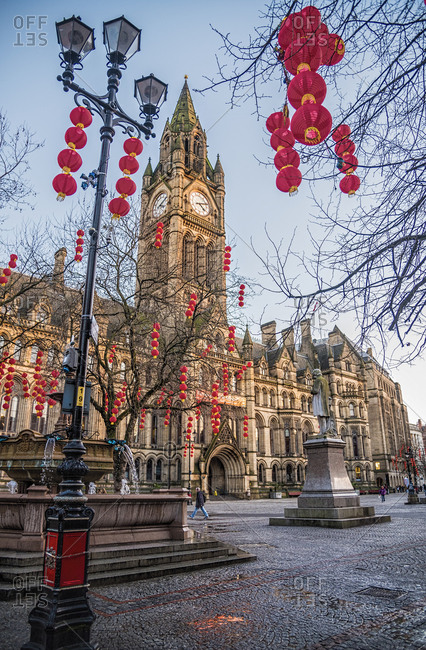City Hall at Chinese New Year in Manchester, United Kingdom