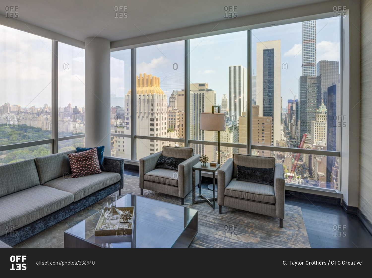 new york ny july 27 2015 luxury high rise apartment living room with view of central park. Black Bedroom Furniture Sets. Home Design Ideas