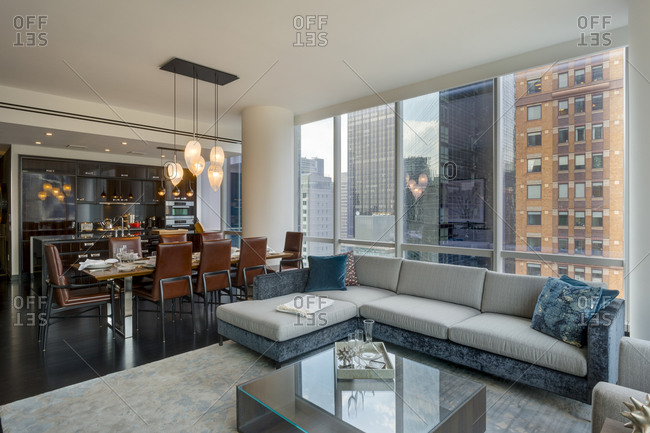 New York, NY   July 27, 2015: Luxurious Living Room In Manhattan High Rise  Apartment Building Stock Photo   OFFSET