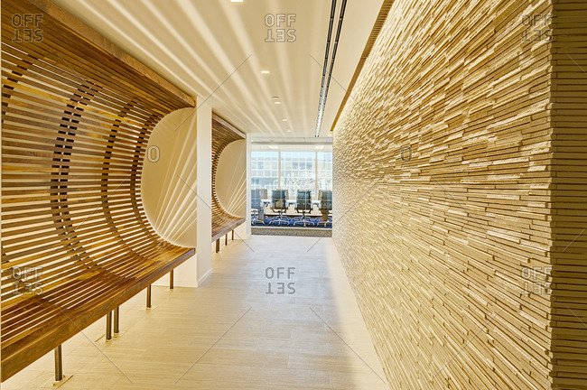 New York, NY - December 13, 2014: Lobby and meeting room in a modern office building