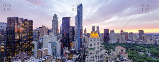 Expensive luxury housing and hotels along Central Park, Manhattan