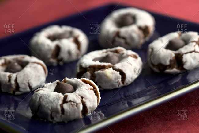 Thumbprint cookies with chocolate candies
