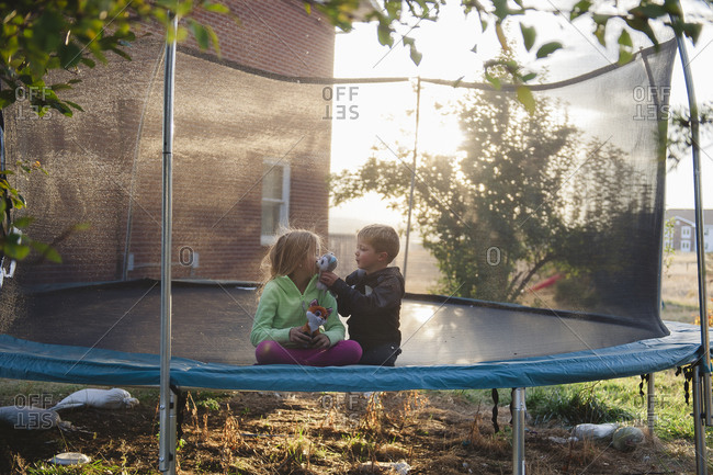 Siblings playing on a trampoline