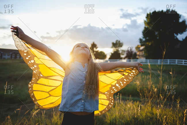 Girl wearing butterfly wings at sunset