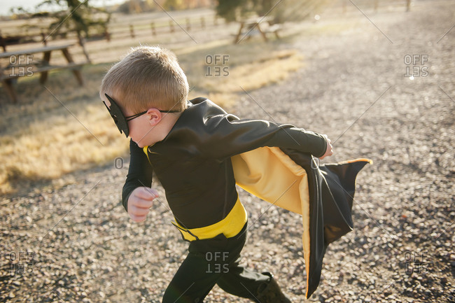 Boy dressed up as a super hero