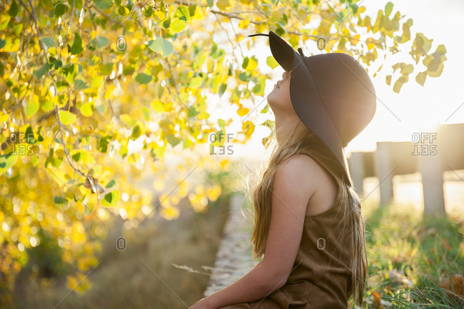 Girl wearing hat looking up at a tree