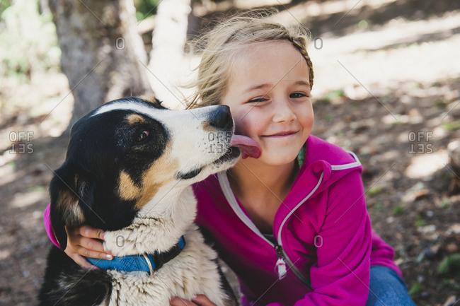 Dog licking little girls cheek
